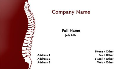 Red and White Chiropractor Business Card Template